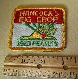 HANCOCK'S BIG CROP SEED PEANUTS PATCH VINTAGE YELLOW TRIM STATE VA CORN USED.