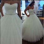 Lace Tulle beads A-line Wedding Prom Dress Bridal Formal Gown Stock size 6-16