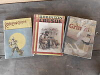Robinson Crusoe Grimm Mixed Lot of 3 Vintage Books VERY bad shape musty...