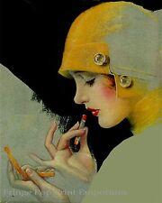 Art Deco Art Print 8 x 10 - Flapper Putting on Lipstick - Pin Up - Roaring 20s