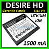 Batterie Neuve 3,7V 1500 Ma HTC Desire Hd Pile Accu Lithium-Ion Garantie +Film