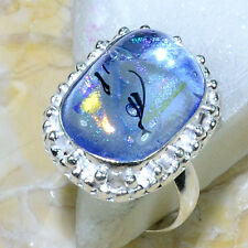 HUGE, UNIQUE, RARE RAINBOW DICHROIC GLASS RING SIZE 8 3/4, 925 SILVER