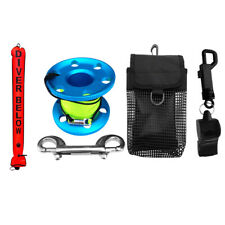 Scuba Diving Sausage Tube/SMB Surface Marker Buoy+Finger Reel+Whistle+Pouch