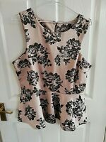 WOMENS BEIGE BLACK PEPLUM FLORAL SHORT SLEEVE BLOUSE TOP SIZE 12 PIT TO PIT 18