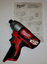 Milwaukee 2462-20 12v M12 Cordless 1/4 in. Hex Impact Driver  **NEW**