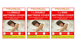 Single Double King Vinyl Plastic Fitted Mattress Bed Cover Sheet Protector wwate