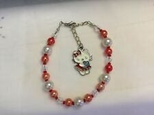 Beautiful Cream/Red/Pearl/Hello Kitty/Extension/Beaded Silver Tone Bracelet
