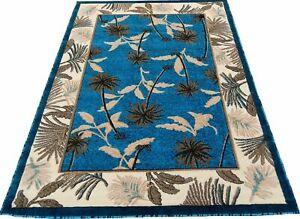 "5' x 7'1"" Area Rug Tropical Palm Trees Carpet, Turquoise Blue, Cream Home Decor"