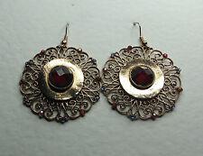 Grande stile vittoriano Oro Rosa Piastra Filigrana Orecchini Pietre Rosso GANCIO