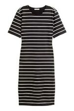NWT H&M BLACK WHITE BRETON NAUTICAL STRIPE SHIFT BODY CON DRESS XS EXTRA SMALL 8