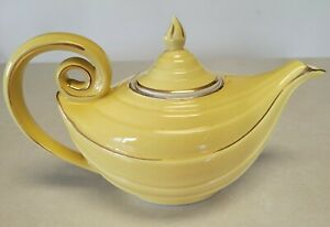 Vintage Hall Aladin Teapot 6 Cup Without Infuser Yellow Gold