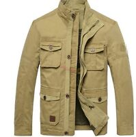 Hot mens Cotton Casual Army Military Collar Jacket Chic safari desert trenchcoat