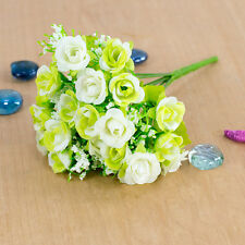 21 Head Artifical Plastic Rose Silk Flower Bouquet Charm Wedding Home Decors