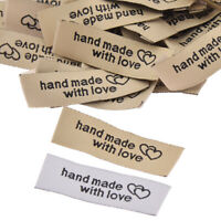 DOUBLE HEART LOT OF 50 PCS WOVEN CLOTHING LABELS