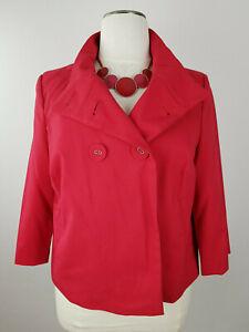 Y.O.U. Schöner Damen Blazer Jacke Vintagelook Jacket 3/4 Ärmel Rot Coat Gr. D 46