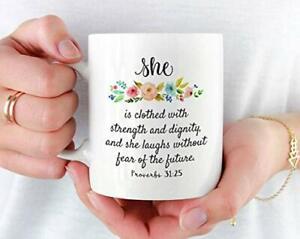 Proverbs 31 25 Mug, Christian Mug Gift for Her, Women, Mother, Bible Verse Mug