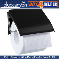 Blue Canyon Anton Black Toilet Roll Holder Wall Mounted Metal Bathroom Accessory