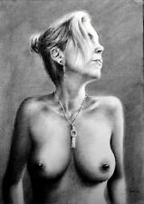 topless portrait, draw on charcoal, A3 paper