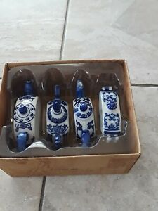 Pier One Napkin Rings, Blue & White. Teapots, set of 8