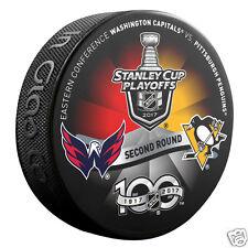 Pittsburgh Penguins vs Washington Capitals 2017 Playoffs Hockey Puck - Round 2
