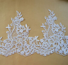 """Bridal Embroidered Corded Lace Edging Ribbon Ivory Floral Wedding Trimming 8.2"""""""