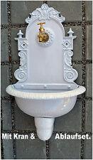 Antik Alu Bassena Wand Brunnen Wandbrunnen Weiss Kran Ablauf Wasserhahn 201MW