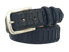 Cintura 4 cm in Pitone Colore nero Back Cut con fodera Nabuk