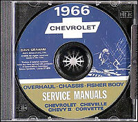 1966 Chevy CD Shop Manual Chevelle El Camino II Nova Corvette SS Impala Biscayne