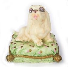 Vintage 1980's Italy Cockerspaniel Dog on Green Pillow Figurine