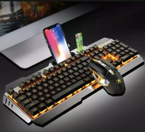 Xinmeng K680 Black Rechargeable Wireless LED Backlit Gaming Keyboard And Mouse