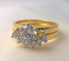 G-Filled Ladies 18ct yellow gold simulated diamond ring set wedding engagement