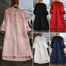ZANZEA UK Womens Long Sleeve Button Tunic Tops Blouse Mini Shirt Dress Plus Size