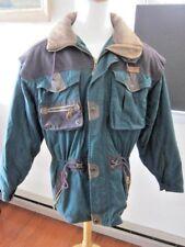 Men's Vintage SPYDER Locals Green/Brown Thinsulate  Parka Coat M/L Hood~Leather