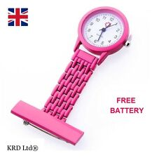 Fashion Silicone Brooch Tunic Fob Nurse Watch STAINLESS STEEL HOT PINK + BATTERY