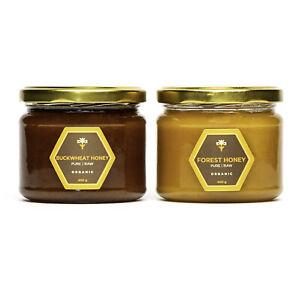 Pure Raw honey 2 jars ACACIA LINDEN BUCKWHEAT WILDFLOWER HEATHER CLOVER 9 kinds