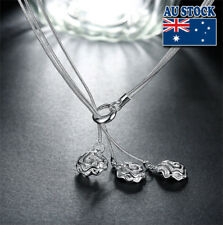 Elegant 925 Sterling Sliver Filled Retro Flower Chain Necklace Gift Women