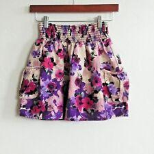 Lilly White XS Purple Floral Print Mini Skirt