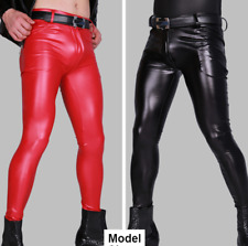 Men Slim Pants PU Leather Punk Skinny Casual Motorcycle Clubwear Trousers