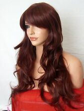 Wavy Wig natural Long party cosplay red brown Ladies Full Hair WIGS Heat OK D18