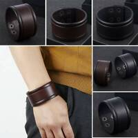 Men's Wide Cuff Leather Bracelet, Wristband, Buckle, Punk - FASHION DESIGNS