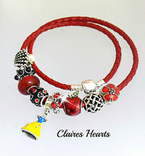Disney Charms Red Double Leather Bracelet with Snow White Apple Red Black New