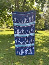 Vintage 80s Blue White Cotton Nautical Oceanic Bath Beach Towel 58 x 26