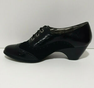 Hush Puppies Womens Black 8 Leather & Suede Tracey Shoes Brogue Style Lace Up