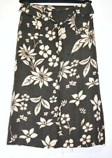 Next 100% Linen Skirt Brown Antique Ivory Floral Print Size 8 Pencil Straight