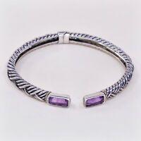 """6.75"""", Vtg Italy 925 Sterling Silver Cuff Bracelet Cuff W/ Amethyst N 14K Accent"""
