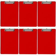 Plastic Clipboard Opaque Color Letter Size Low Profile Clip (Pack of 6) (Red)