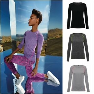 Womens Long Sleeve T Shirt Top Wickable Breathable Running Training Gym 8 - 16