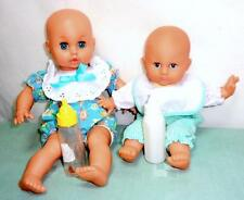 """LOT of 2 Vintage Baby Dolls + Outfits Bottles 12"""" + 9-10"""" Cloth / Plastic Doll"""