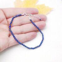 Lapislazuli Lapis blau blue Perlen Steine Design Armband 925 Sterling Silber neu