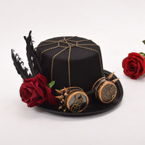 Gothic Punk Top Hat Cap Hat with Glasses Vintage Steampunk Gear Flower Feather